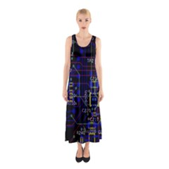 Technology Circuit Board Layout Sleeveless Maxi Dress
