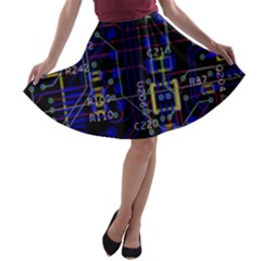 Technology Circuit Board Layout A Line Skater Skirt