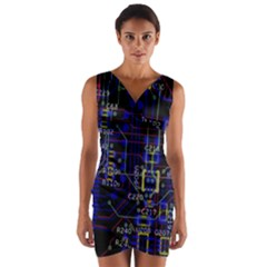 Technology Circuit Board Layout Wrap Front Bodycon Dress