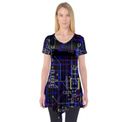 Technology Circuit Board Layout Short Sleeve Tunic
