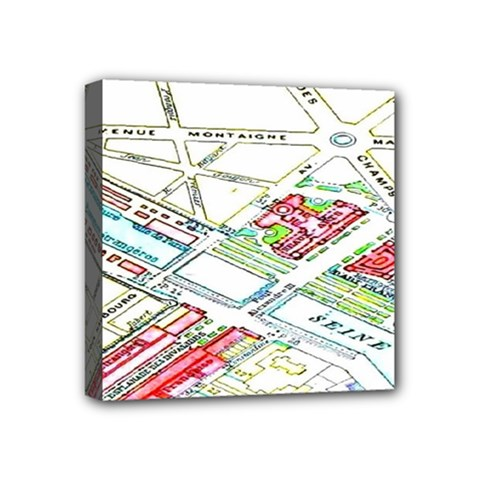 Paris Map Mini Canvas 4  X 4