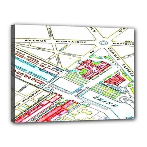 Paris Map Canvas 16  X 12