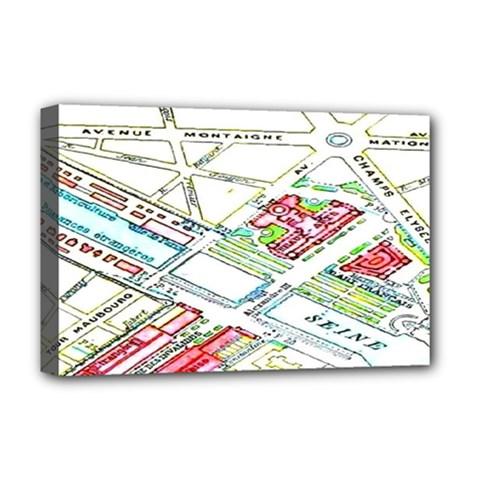 Paris Map Deluxe Canvas 18  X 12