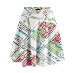 Paris Map High Waist Skirt