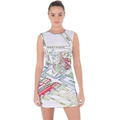 Paris Map Lace Up Front Bodycon Dress