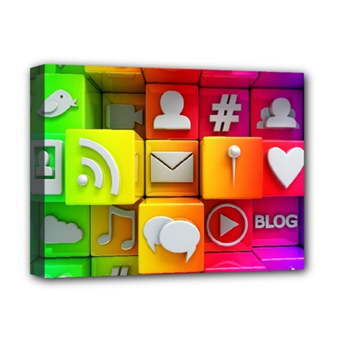 Colorful 3d Social Media Deluxe Canvas 16  X 12