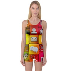 Colorful 3d Social Media One Piece Boyleg Swimsuit