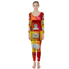 Colorful 3d Social Media Long Sleeve Catsuit