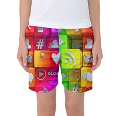 Colorful 3d Social Media Women s Basketball Shorts