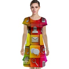 Colorful 3d Social Media Cap Sleeve Nightdress