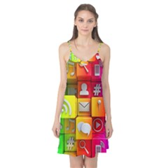 Colorful 3d Social Media Camis Nightgown