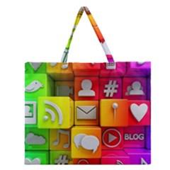Colorful 3d Social Media Zipper Large Tote Bag