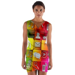 Colorful 3d Social Media Wrap Front Bodycon Dress