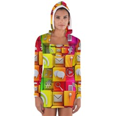 Colorful 3d Social Media Long Sleeve Hooded T Shirt