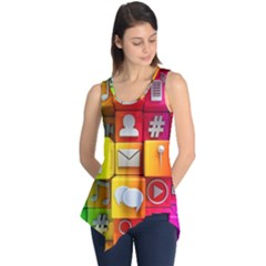 Colorful 3d Social Media Sleeveless Tunic