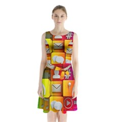 Colorful 3d Social Media Sleeveless Waist Tie Chiffon Dress