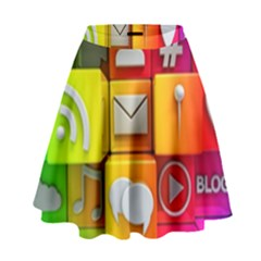 Colorful 3d Social Media High Waist Skirt