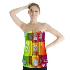 Colorful 3d Social Media Strapless Top