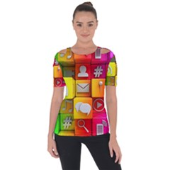 Colorful 3d Social Media Short Sleeve Top