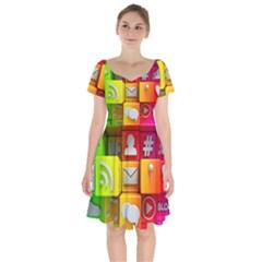 Colorful 3d Social Media Short Sleeve Bardot Dress