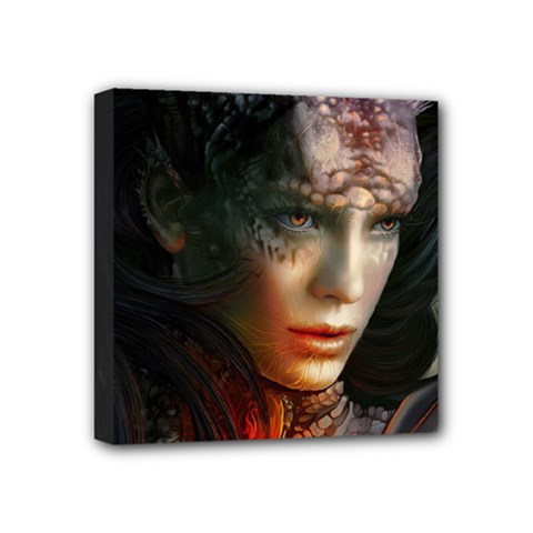 Digital Fantasy Girl Art Mini Canvas 4  X 4