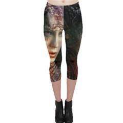 Digital Fantasy Girl Art Capri Leggings