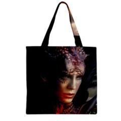 Digital Fantasy Girl Art Zipper Grocery Tote Bag
