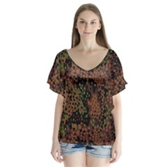 Digital Camouflage Flutter Sleeve Top