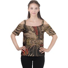 Chinese Dragon Cutout Shoulder Tee