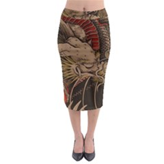 Chinese Dragon Midi Pencil Skirt