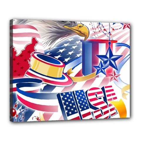 United States Of America Usa  Images Independence Day Canvas 20  X 16