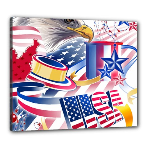 United States Of America Usa  Images Independence Day Canvas 24  X 20
