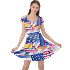 United States Of America Usa  Images Independence Day Cap Sleeve Dresses