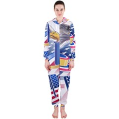 United States Of America Usa  Images Independence Day Hooded Jumpsuit (ladies)