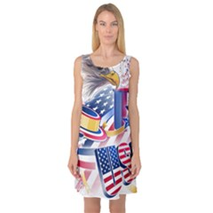 United States Of America Usa  Images Independence Day Sleeveless Satin Nightdress