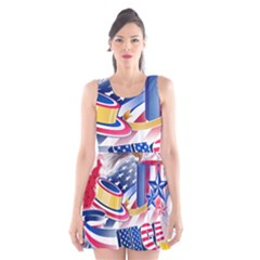 United States Of America Usa  Images Independence Day Scoop Neck Skater Dress