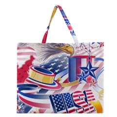 United States Of America Usa  Images Independence Day Zipper Large Tote Bag