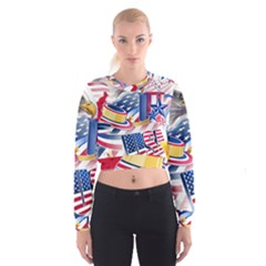 United States Of America Usa  Images Independence Day Cropped Sweatshirt