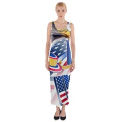 United States Of America Usa  Images Independence Day Fitted Maxi Dress