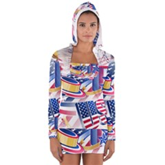 United States Of America Usa  Images Independence Day Long Sleeve Hooded T Shirt