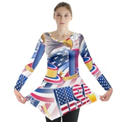 United States Of America Usa  Images Independence Day Long Sleeve Tunic