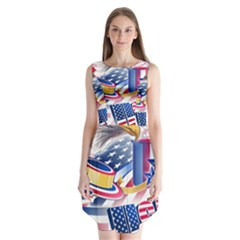 United States Of America Usa  Images Independence Day Sleeveless Chiffon Dress