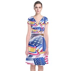 United States Of America Usa  Images Independence Day Short Sleeve Front Wrap Dress
