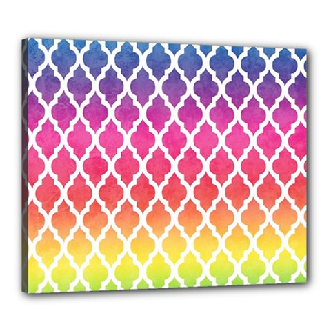 Colorful Rainbow Moroccan Pattern Canvas 24  X 20