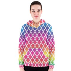 Colorful Rainbow Moroccan Pattern Women s Zipper Hoodie