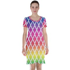 Colorful Rainbow Moroccan Pattern Short Sleeve Nightdress