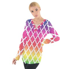 Colorful Rainbow Moroccan Pattern Tie Up Tee