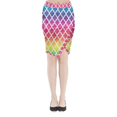 Colorful Rainbow Moroccan Pattern Midi Wrap Pencil Skirt