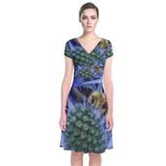 Chihuly Garden Bumble Short Sleeve Front Wrap Dress