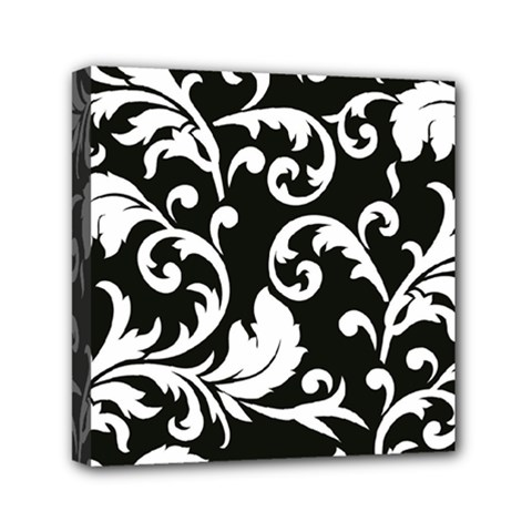 Vector Classicaltr Aditional Black And White Floral Patterns Mini Canvas 6  X 6